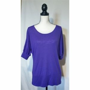 """""""Cato"""" Purple rounded neck winged sleeve top"""